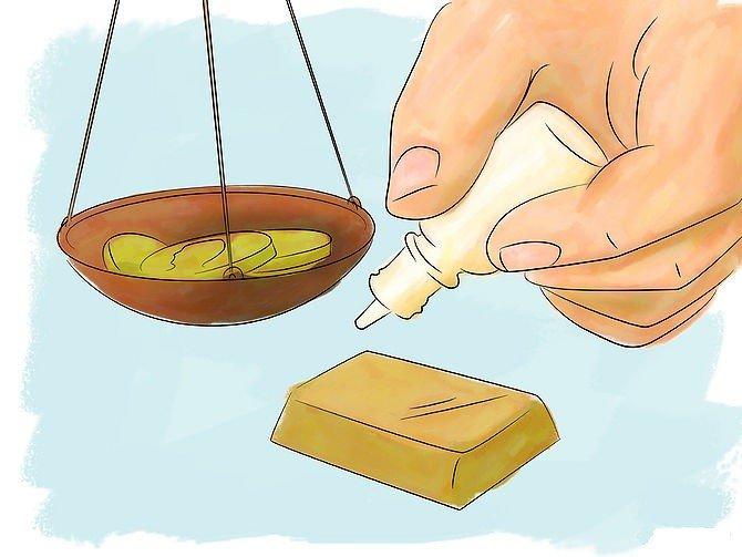 Проверка золота на маленьком куске изделия с помощью реакции металла